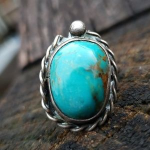 Old Pawn Turquoise Sterling Native American Ring